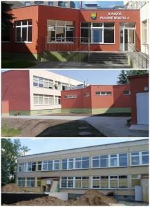 2013 m.  Jonavos pradinė mokykla. PO renovacijos (viršuj), PRIEŠ (apačioj)