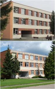 2013 m. Marijampolės sav. Sasnavos pagrindinė mokykla. PO rekonstrukcijos  (viršuj) ir PRIEŠ (apačioj)